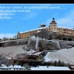 Würzburger Festung in einem Hauch von Schnee