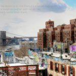 Zu sehen ist die Brookly Bridge im Hintergrund und alle Gebäude im Vordergrund sind voll von Grafitti